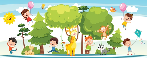 Vector illustration of kids nature concept