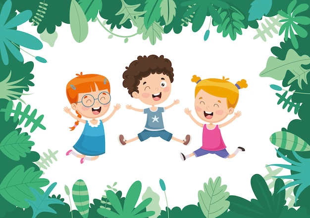 Vector illustration of kids nature