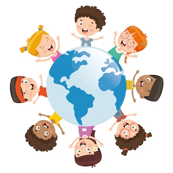 Vector illustration of kids playing around the world
