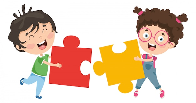 Vector illustration of kids playing puzzle
