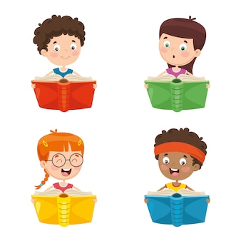 Vector illustration of kids reading book