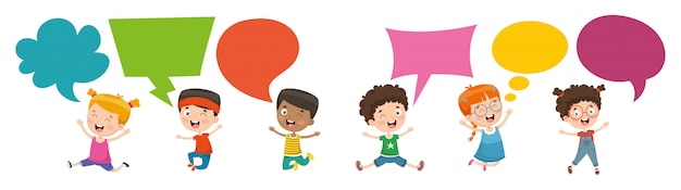 Vector illustration of kids speech bubble
