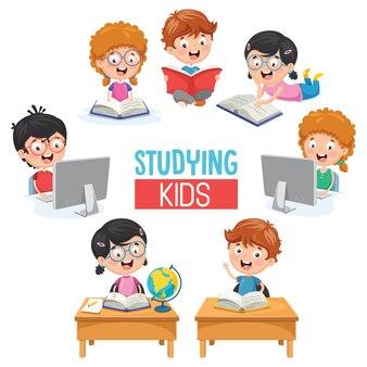 Vector illustration of kids studying