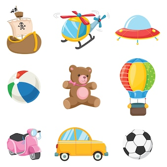 Vector illustration of kids toys