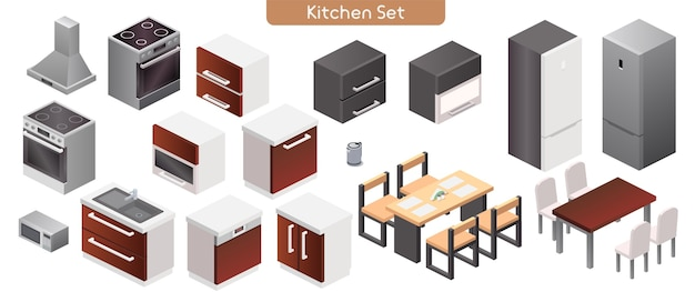 Vector illustration of kitchen modern interior furniture set. isometric view of stove, kitchen hood, cabinets, sink, microwave, electric kettle, dinner tables, chairs, refrigerator isolated objects