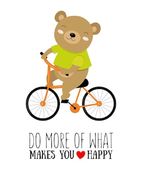 Vector illustration of koala on a bicycle with motivational quote