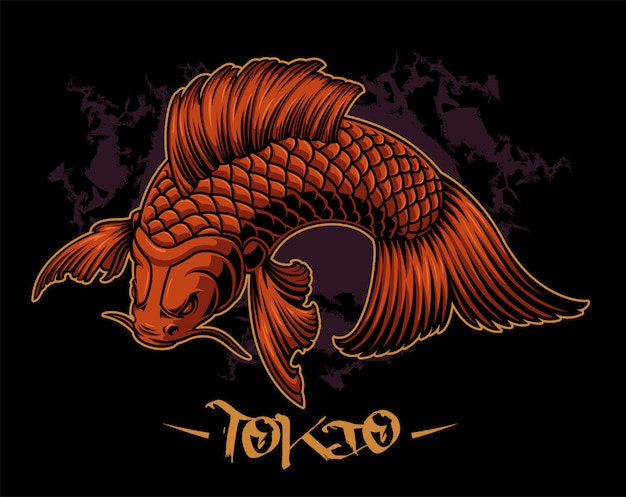 Vector illustration of a koi carp on the dark background.
