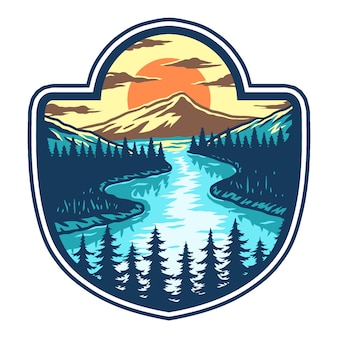 Vector illustration of lake, mountain and sunset