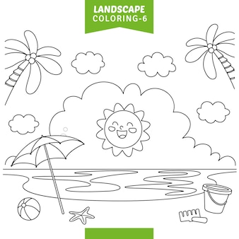 Vector illustration of landscape coloring page