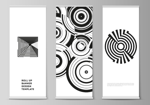 The vector illustration layout of roll up banner stands vertical flyers flags design business templates trendy geometric abstract background in minimalistic flat style with dynamic composition