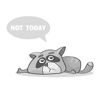 벡터 일러스트 레이 션. 바닥에 누워 오늘은 아니라고 말하는 게으른 고양이 - 피곤한 회색 고양이 누워