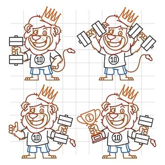 Векторная иллюстрация, лев культурист в разных версиях каракули, формат eps 10