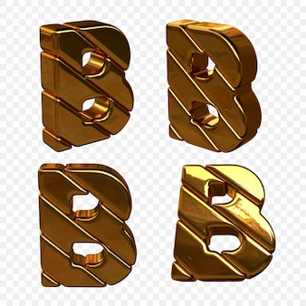 Vector illustration of letters made of gold from different angles. 3d letter b