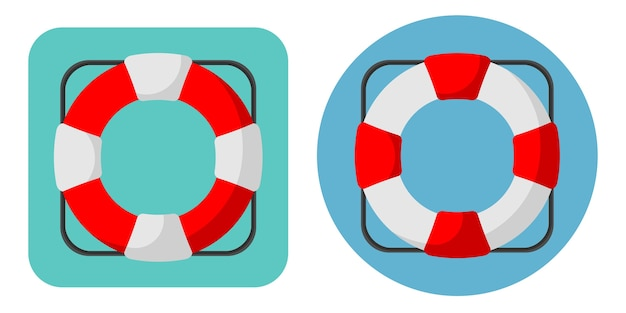 Vector illustration of lifebuoy icons in flat style.