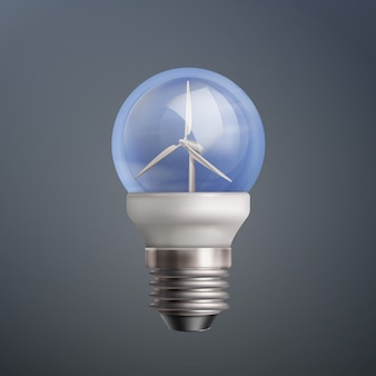 Vector illustration light bulb with wind turbines on dark background