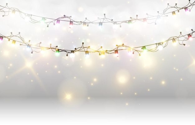 Vector illustration of a light garland on a transparent background