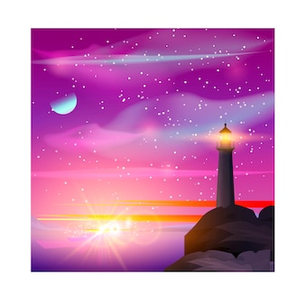 Vector illustration of lighthouse in night sea.