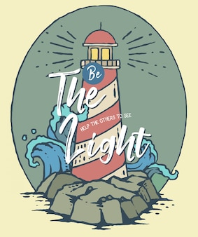 Vector illustration of lighthouse on the sea