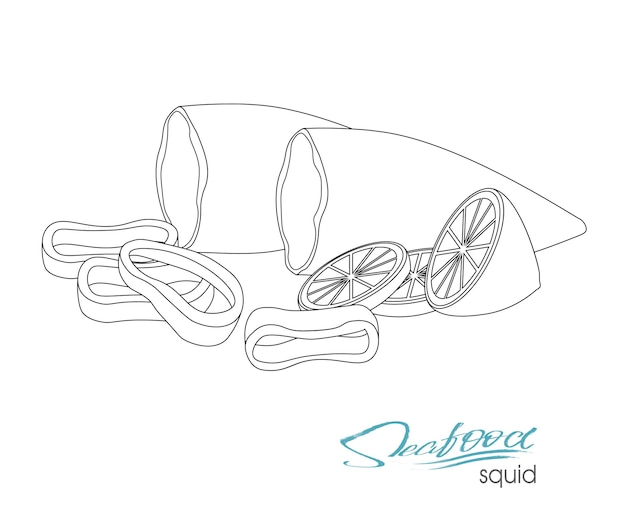 Vector illustration. linear illustration of a dish of squid with lemon.