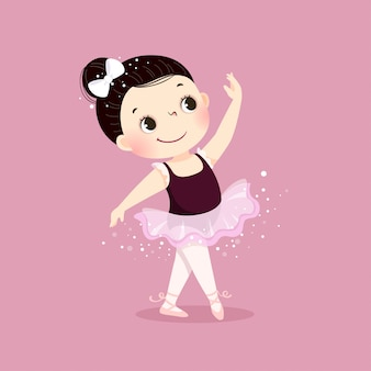 Vector illustration of little ballerina girl dancing