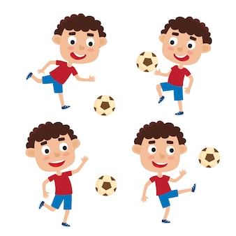 Vector illustration of little blonde boys in shirt and short playing football in cartoon style