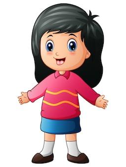Vector illustration of little girl cartoon waving hands