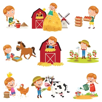 Vector illustration of little girl at farm