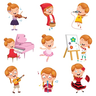 Vector illustration of little girl performing art