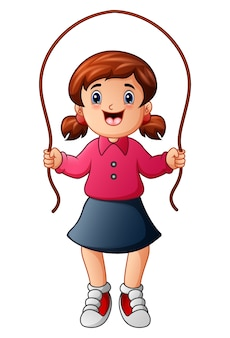 Vector illustration of little girl playing jumping rope