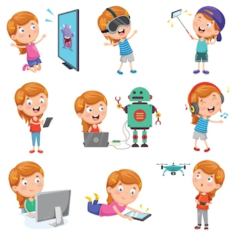 Vector illustration of little girl playing with devices