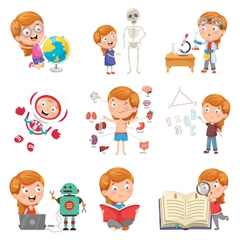 Vector illustration of little girl studying science