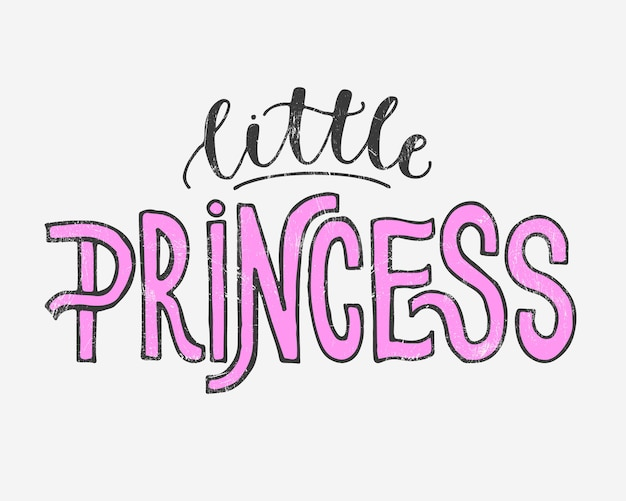 Vector illustration of little princess text for girls clothes.