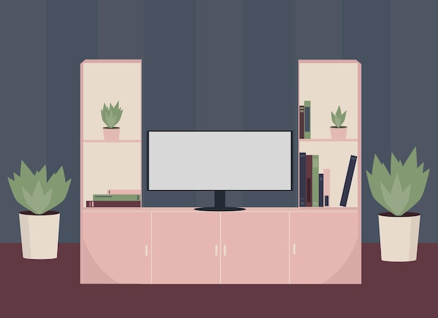 Vector illustration of a living room with a wardrobe, tv, plants.