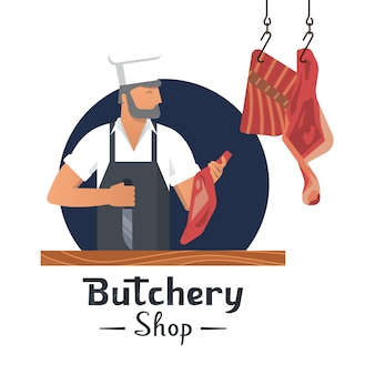 Vector illustration logo for a butcher shop with a bearded butchers at work.