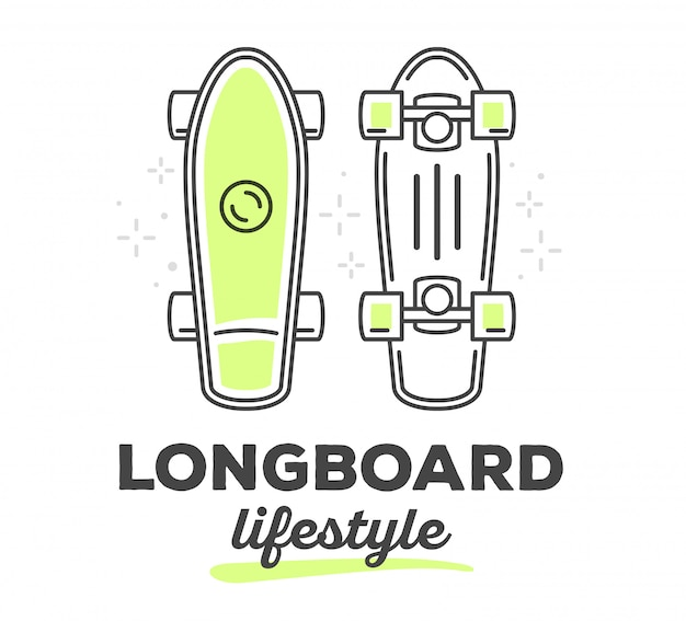 Vector illustration of longboard with text on white background. sport lifestyle