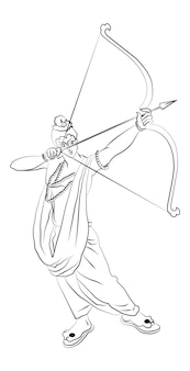 Vector illustration of lord rama with bow and arrow