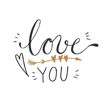 Vector illustration of love you words with heart and arrow decorations.