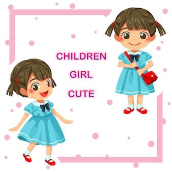 Vector illustration of lovely kindergarten girl children