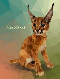 Vector illustration in low polygon style. kitten caracal.