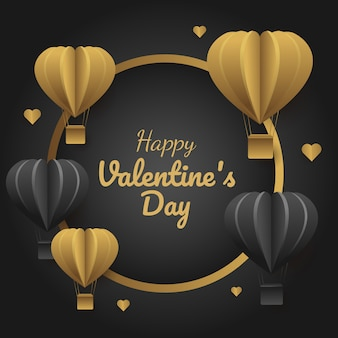 Vector illustration of luxury valentine's  banner, circle shape  with gold and black balloons