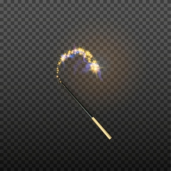 Vector illustration of magic wand isolated on transparent background