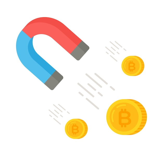 Vector illustration of a magnet attracting bitcoins international stock exchange