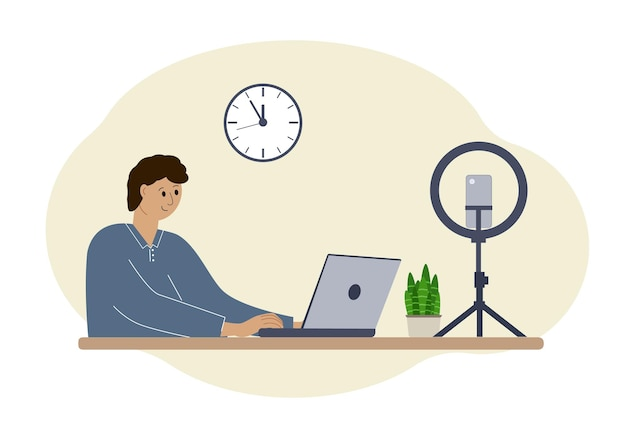 Vector illustration of a male blogger at the table with a laptop. online filming of a training course or blog