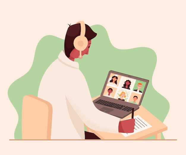 Vector illustration of a male teacher conducting an online meeting or lesson on the internet