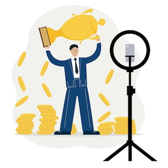 Vector illustration of a man advertising online money making course