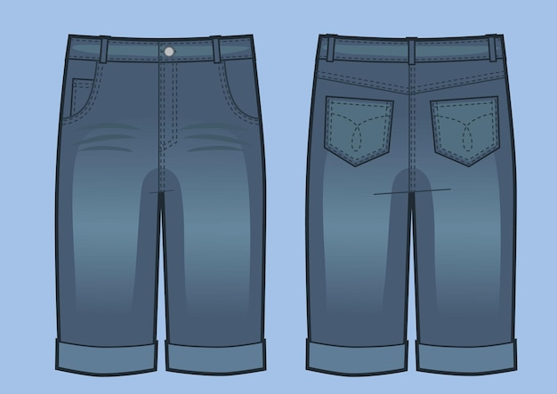 Vector illustration of man blue jeans shorts. front and back views. fashion illustration