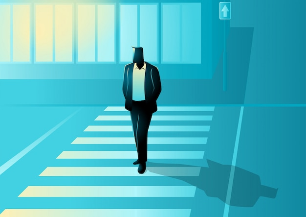 Vector illustration of man figure walking on zebra cross