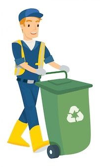 Vector illustration of man push the trash can