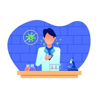 Векторная иллюстрация человек-ученый в исследовательской лаборатории, работающий над исследовательской вакциной