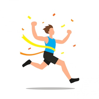 Vector illustration of man winning a race